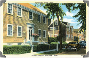 Do the ghosts at Cottage Hospital show in this vintage postcard?